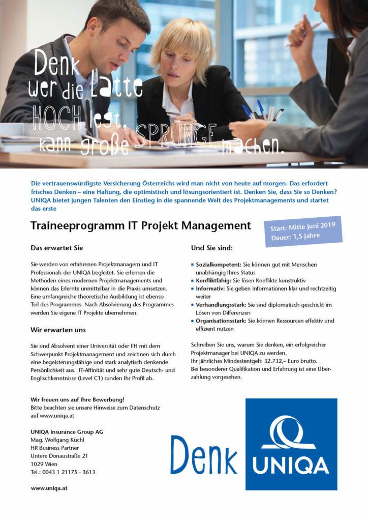 UNIQA IT-Traineeprogramm Ausschreibung